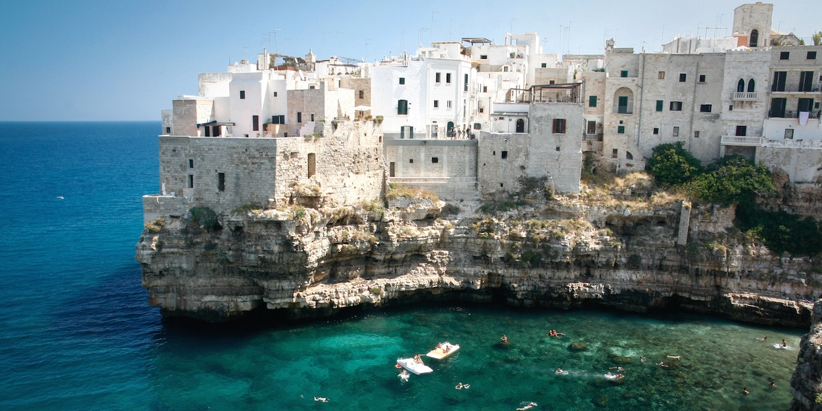 View of the cliffs in Polignano a mare