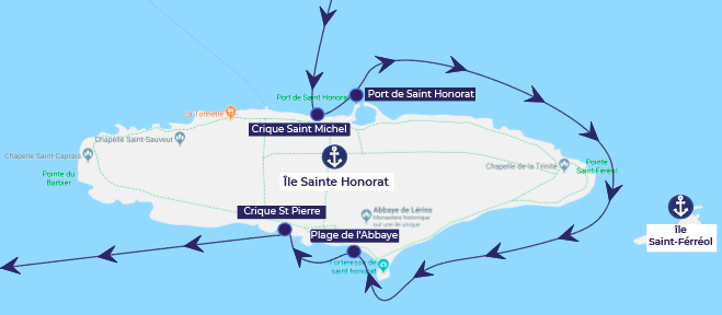 boat itinerary around the Saint Ferreol Island