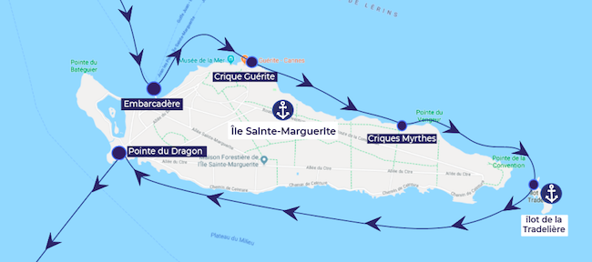 Boat itinerary around Sainte Marguerite Islands
