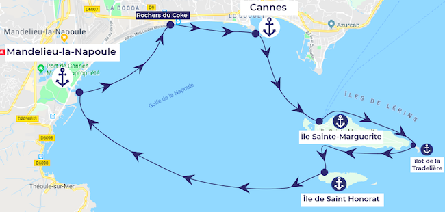 A one day itinerary starting from Mandelieu-La-Napoule in the Cannes area