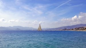 A boat sailing in Cannes bay