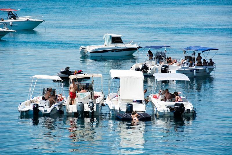 boats gathered on a lake