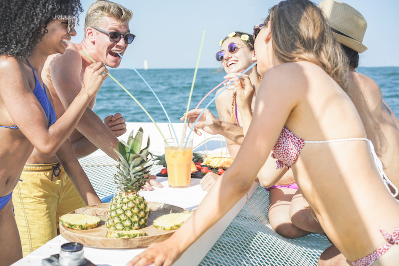 people having a great time on a boat party