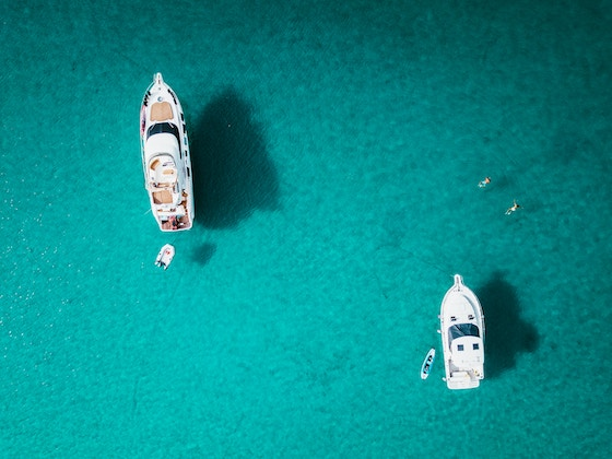 aerial picture of yachts