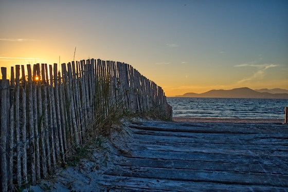 Ocean view at sunset in Toulon, France