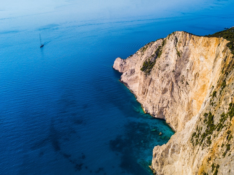 Sailing next to the cliffs of Zakinthos, Greece