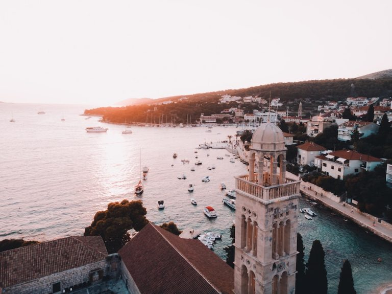 Aerial view of sailboats in the port of Hvar, Croatia