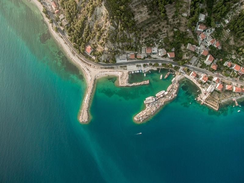 Aerial view of the port in Split, Croatia