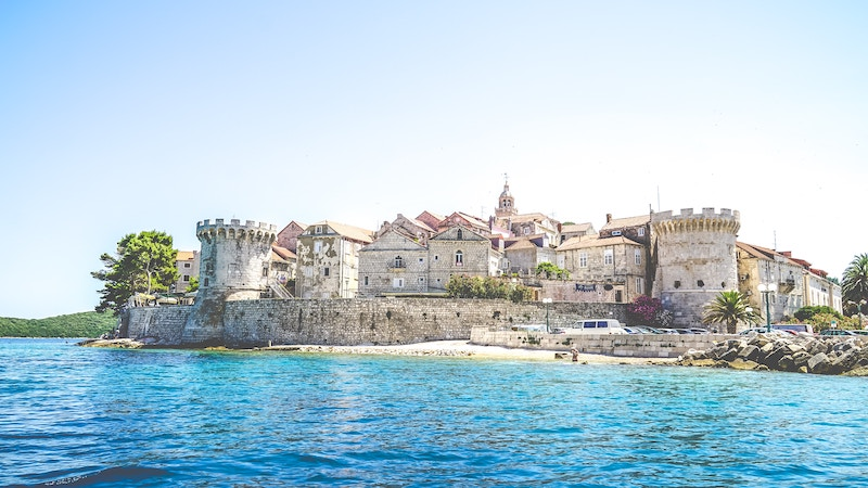 View from the water of Korcula's Old Town