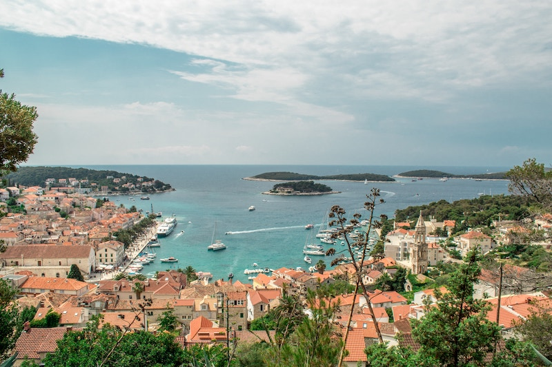 View of the village on the shore in Hvar, Croatia