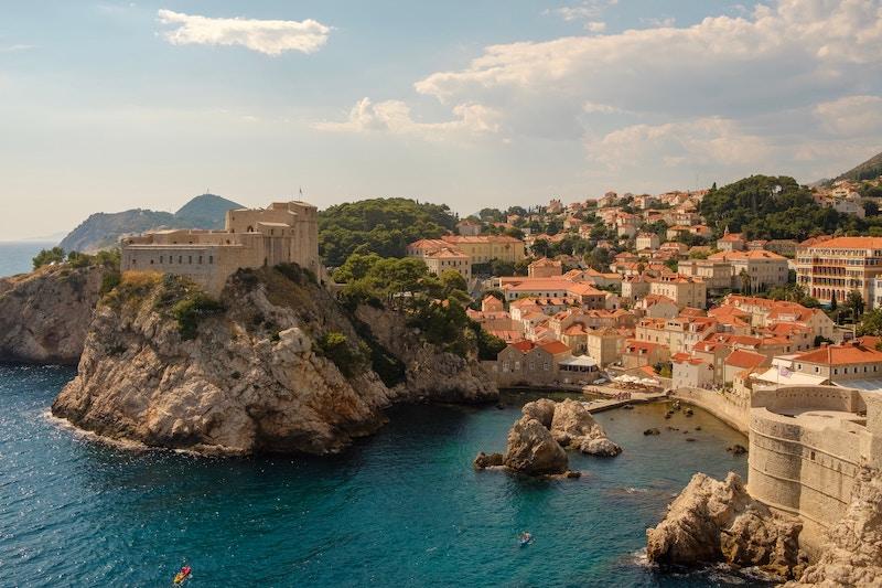 Aerial view of the coast at Dubrovnik, Croatia