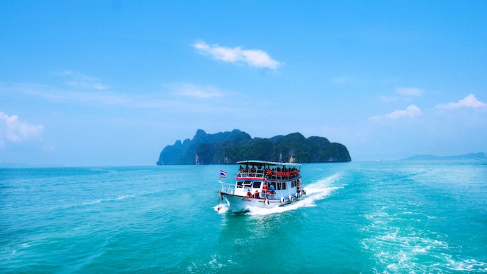 Boat cruising after visiting an island in Phang Nga Bay, Thailand