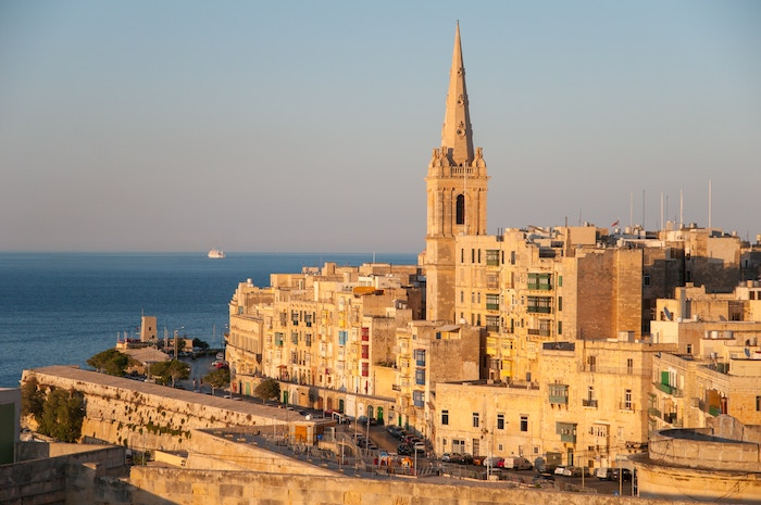 View of the ancient buildings in Valletta, Malta and the stunning coast that surrounds it.