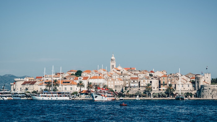 Korcula and some sailboats from the sea