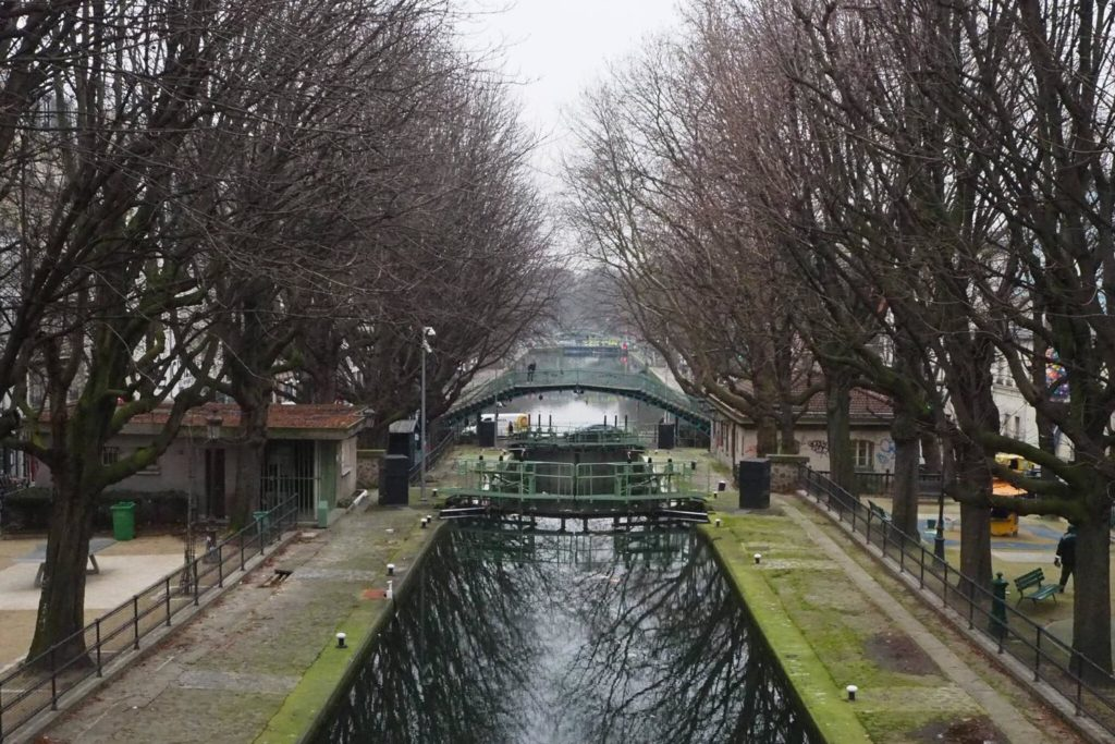 Aerial view of a canal in Paris.