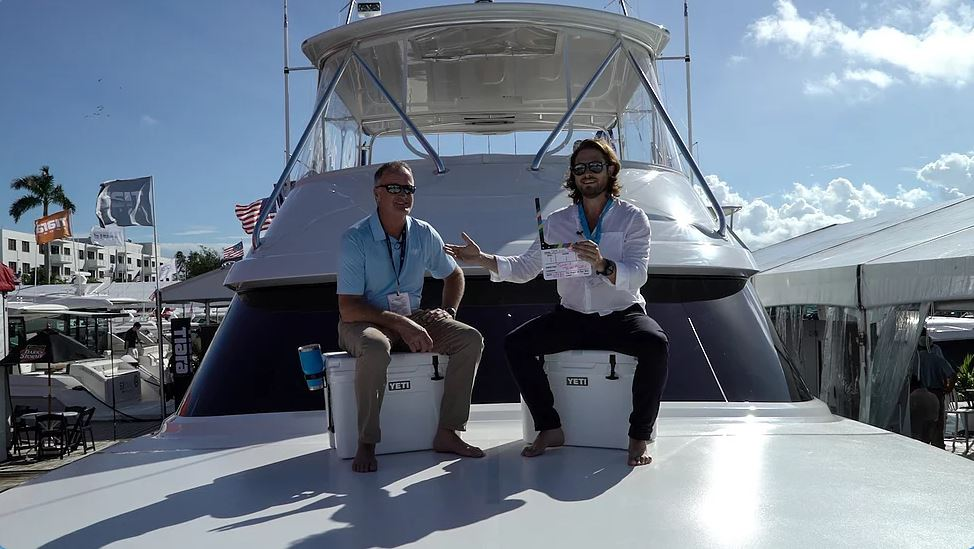 Tommy Thompson of Bertram Yachts speaking about the marine industry at the 2018 Fort Lauderdale Boat Show.