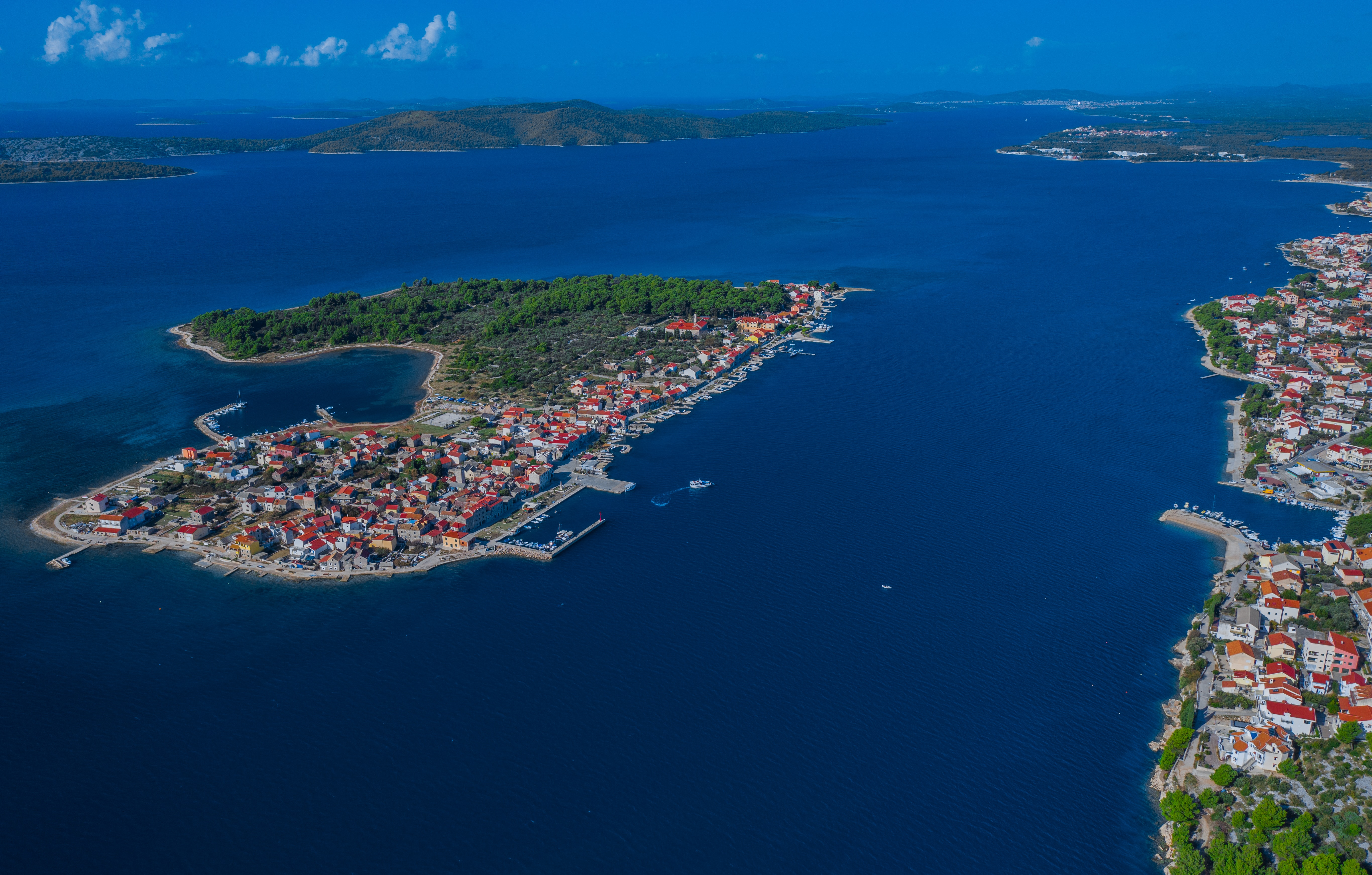 Aerial view of an island in Croatia.