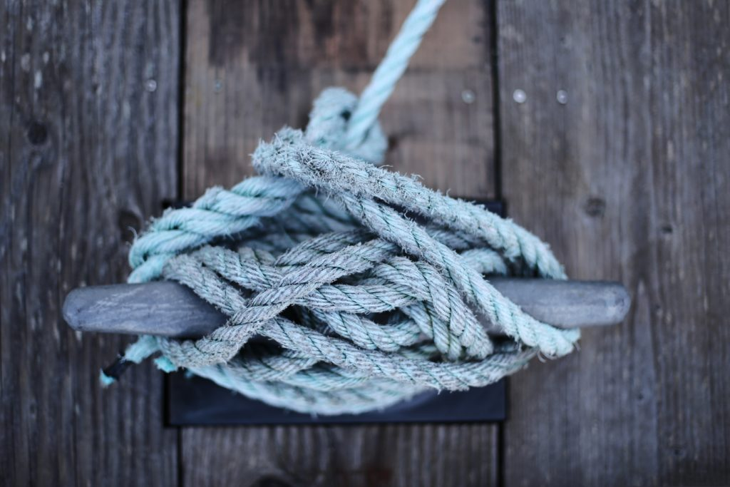 A secure rope designed as a cleat hitch knot.