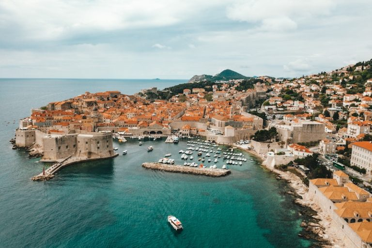 Aerial view of the Dubrovnik port.