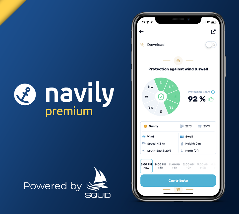 Navily sailing app mobile view.