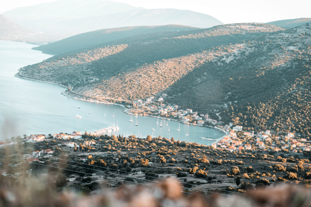 Greek port city aerial view from the cliff.