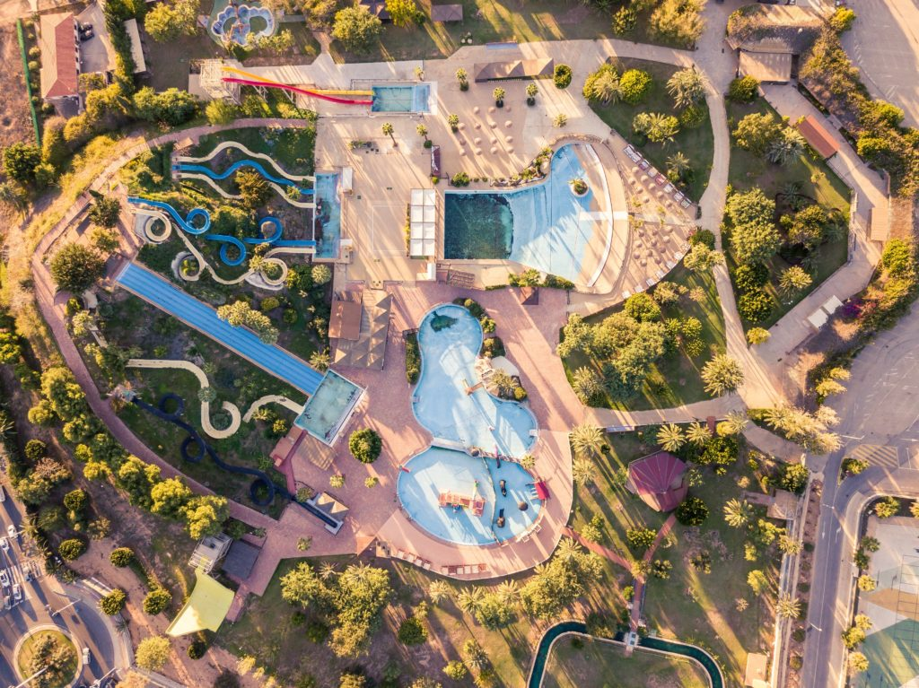 An aerial view of Aqualand water park.
