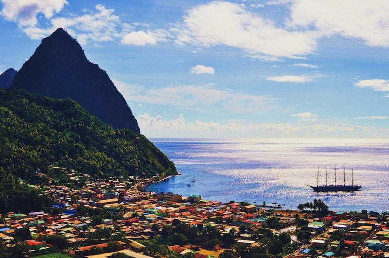 Gulet sailing on the coast of Grenada