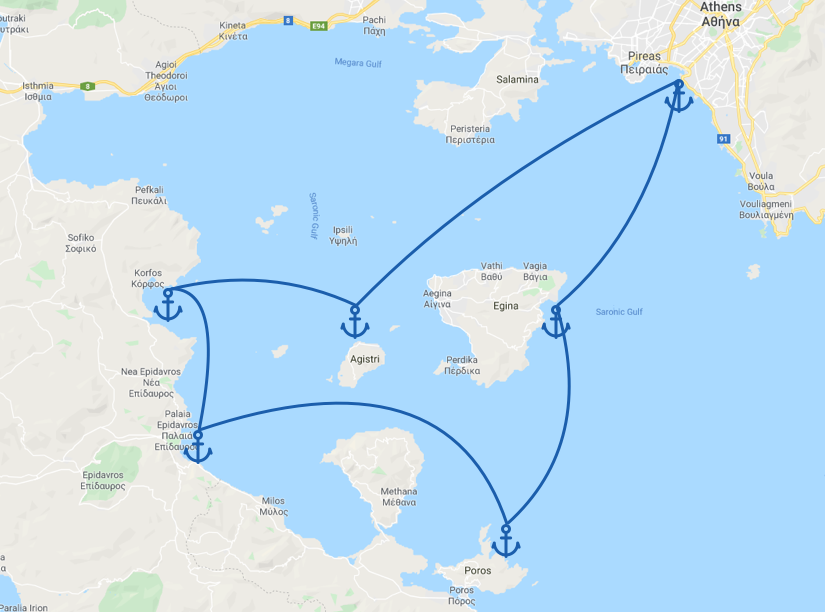 Image of a sailing itinerary in the Greek Saronic Gulf