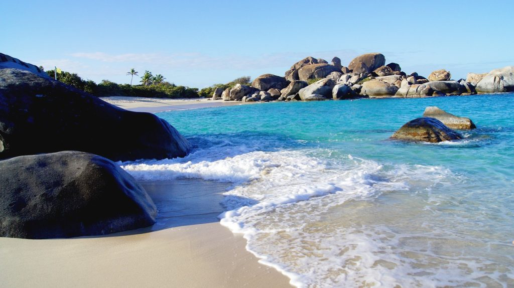 The Baths in Virgin Gorda with granite boulders on the coast