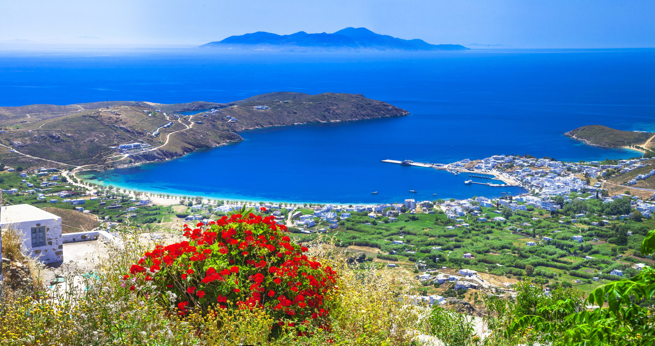 aerial view of the beautiful coast of Greece