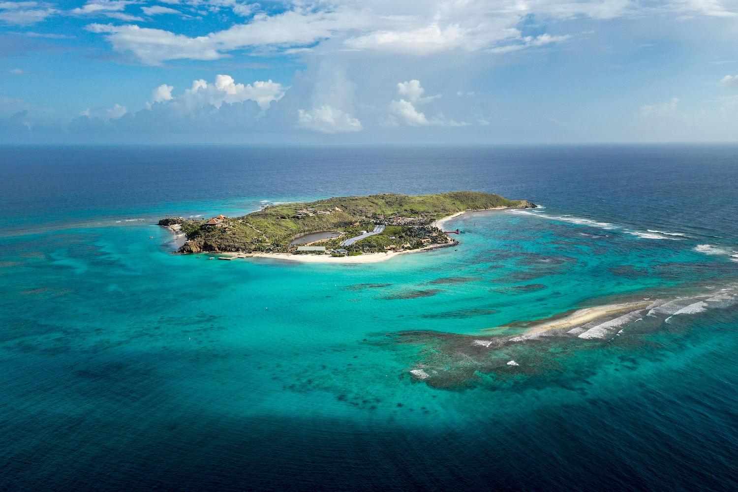 Aerial view of Necker Island in the BVI