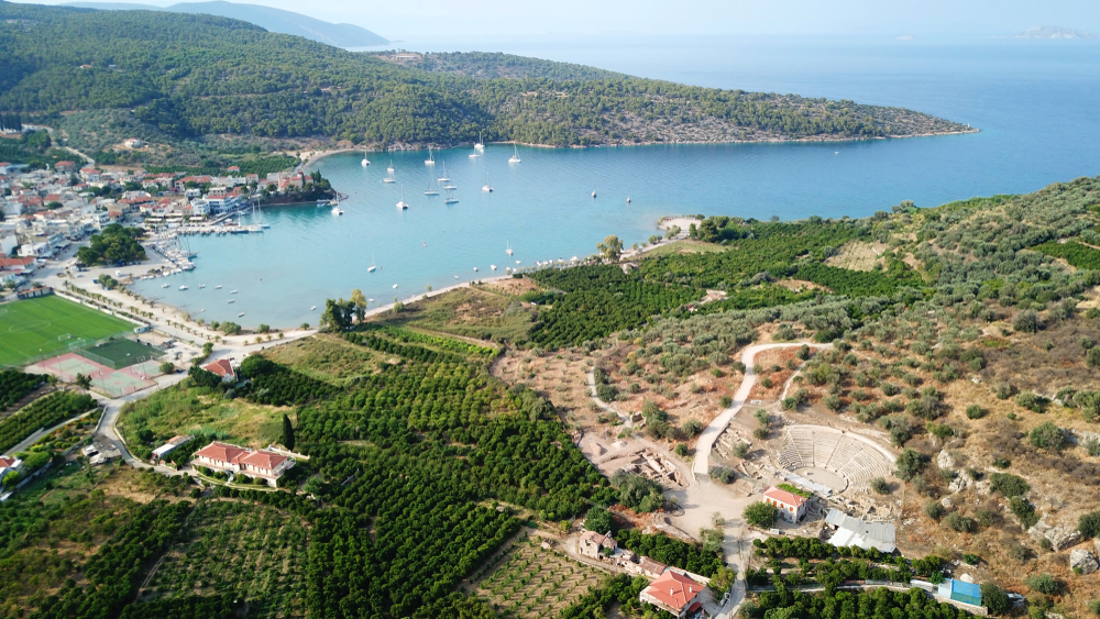 Aerial view of Palaia Epidavros and the old small theater