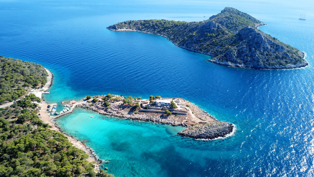 Aerial view of the beautiful water in Agistri island, Saronic Gulf