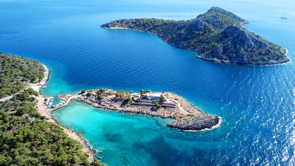 Aerial view of the beautiful water in Agistri island, Saronic Gulf