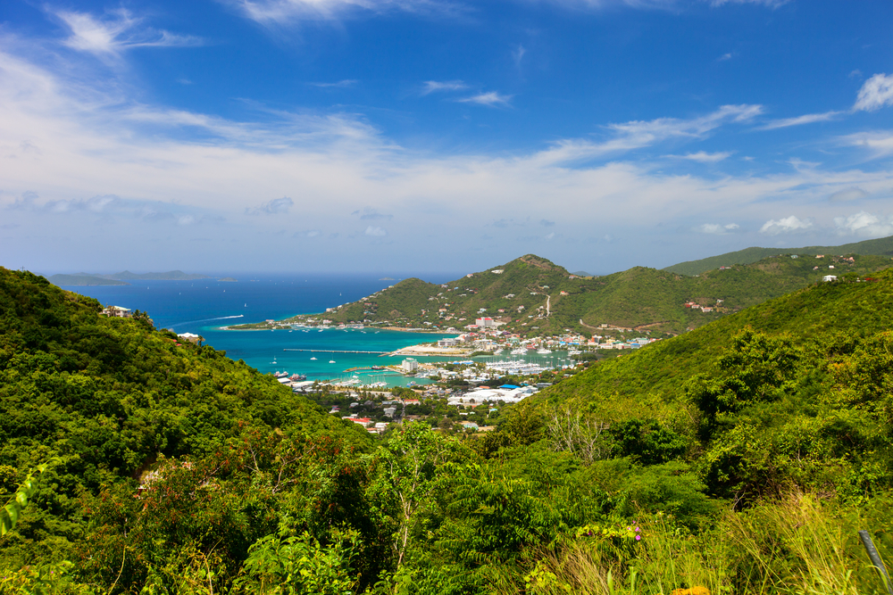 Aerial view of the coast in Road Town, Tortola