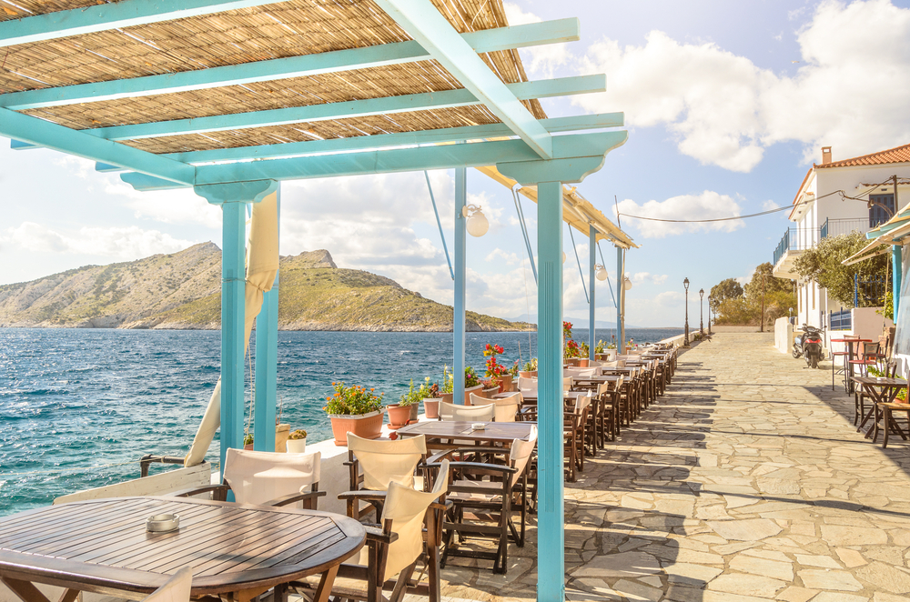 A view of the Saronic Gulf from Aegina on the terrace of a taverna