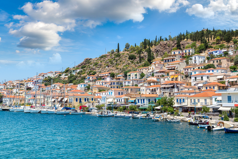 View of the coast in Poros, Greece