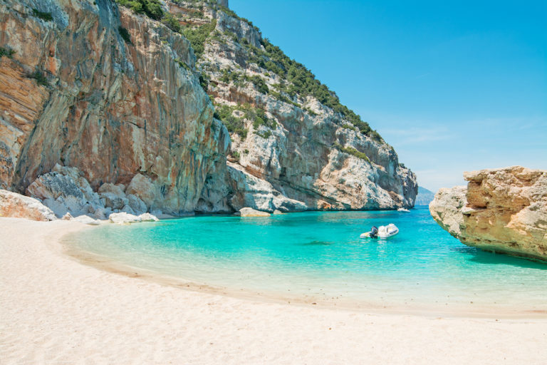 A motorboat on the coast of Sardinia