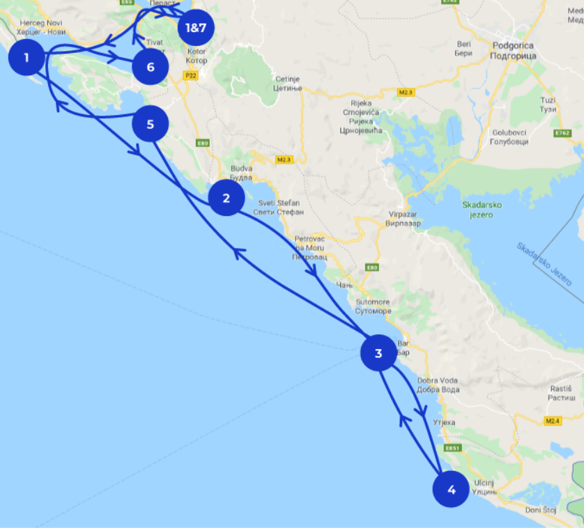 A map detailing the perfect 7 day sailing itinerary in Montenegro