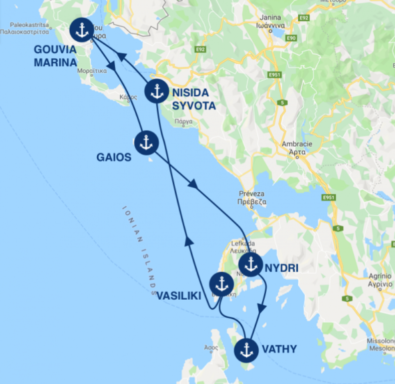 Descriptive itinerary of all the stops on a 7 day charter from Corfu