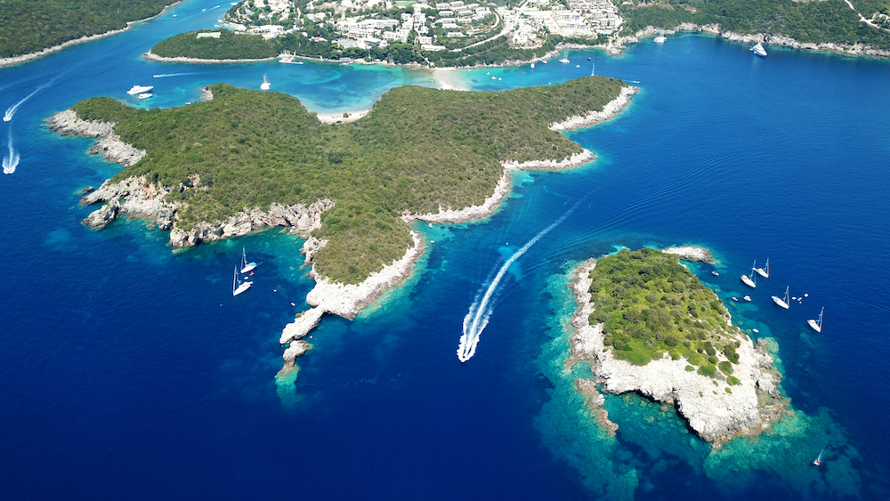 Aerial view of the beautiful islands, including Syvota