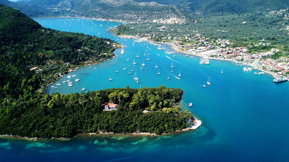 View of Nidri in Lefkada Island with catamarans and sailboats