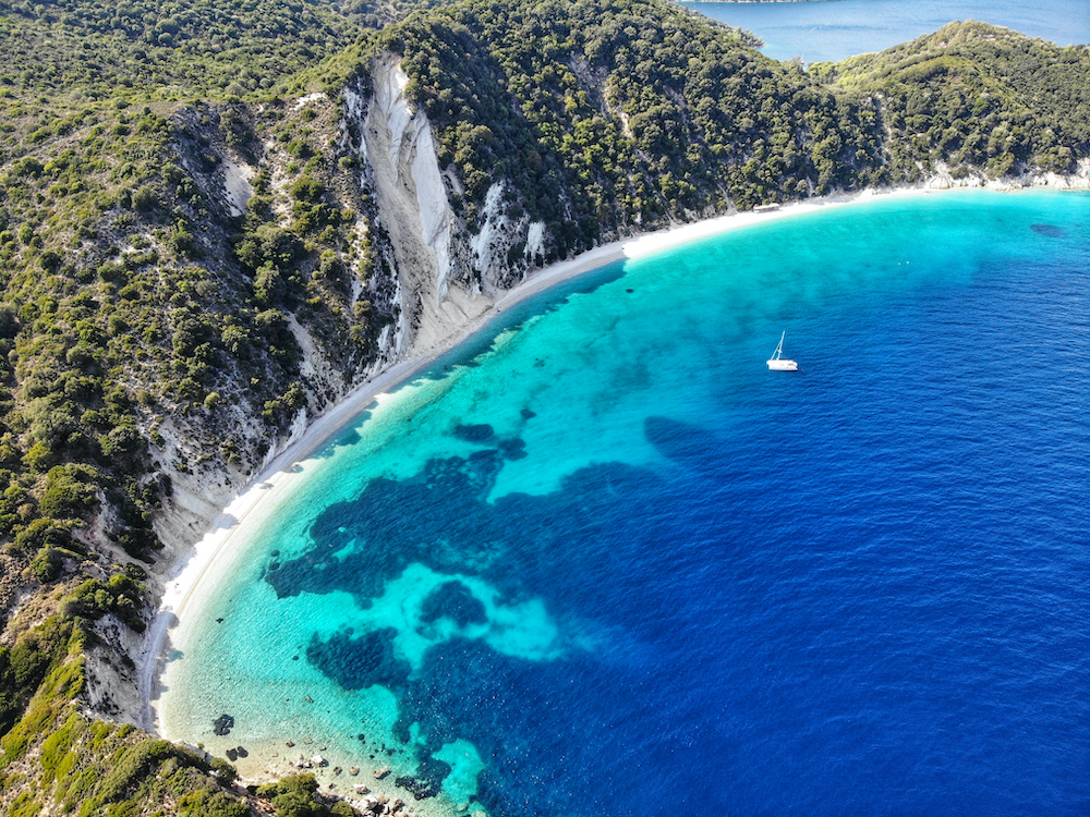 Aerial view of the breathtaking coast of Ithaca
