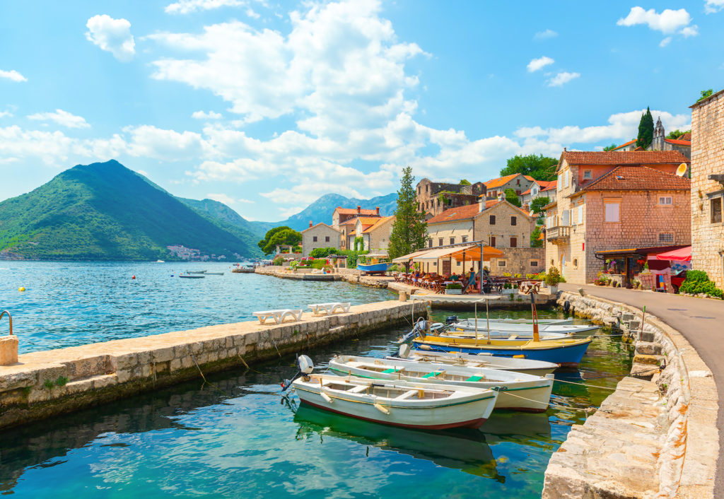View of the mountainous landscape and perfect blue water in Montenegro