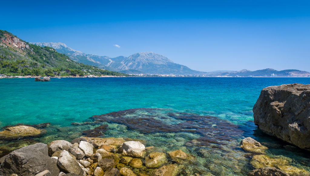 View of the crystal clear waters in Montenegro