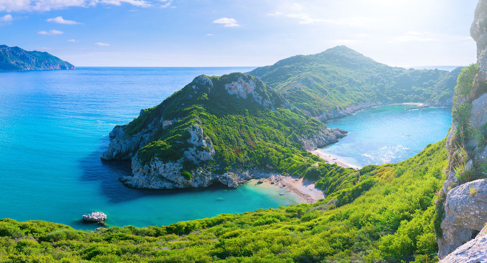 Aerial view of the coast in Corfu