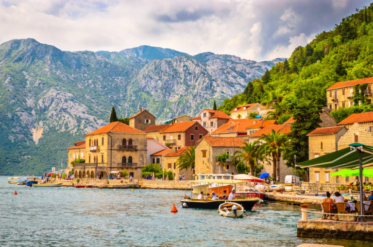 View of the mountains and coast in Montenegro