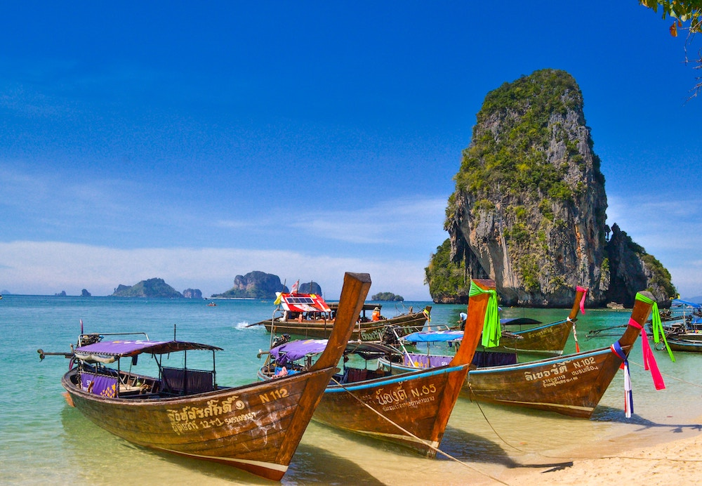 Traditional boats on the beaches in Phuket, Thailand