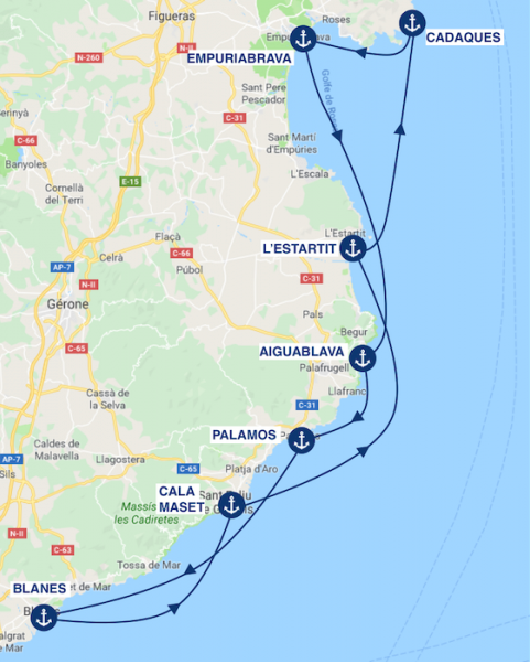Map of a 7 day sailing itinerary in the Costa Brava