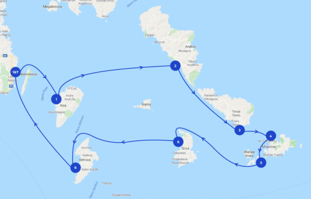 Map of a 7 itinerary for sailing in the Cyclades